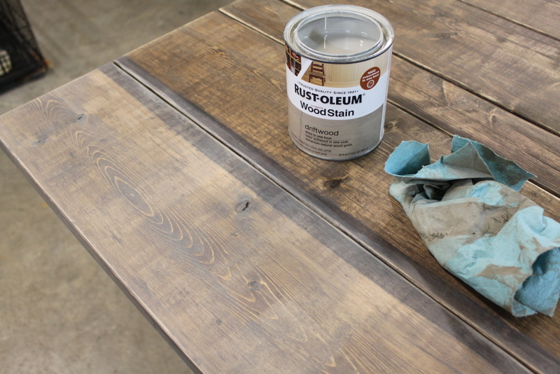Diy plank top table all mimsy home for Can you stain driftwood